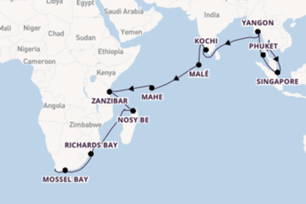 Cruise from Bangkok to Cape Town via Maputo