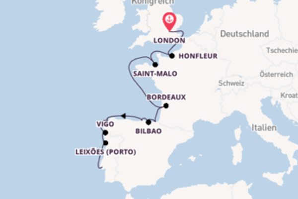 Erleben Sie London, La Coruña und Lissabon