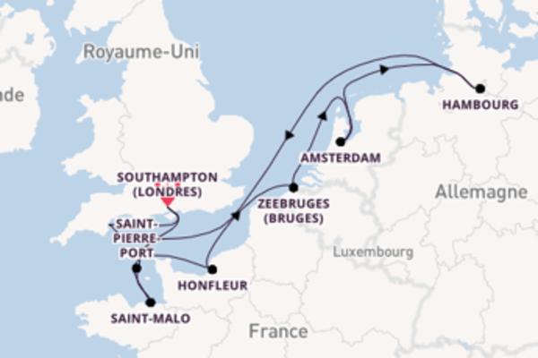 13 jours pour découvrir Saint-Pierre-Port au départ de Southampton (Londres)