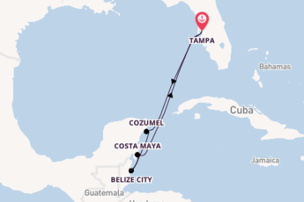 Cruise naar Tampa via Belize City