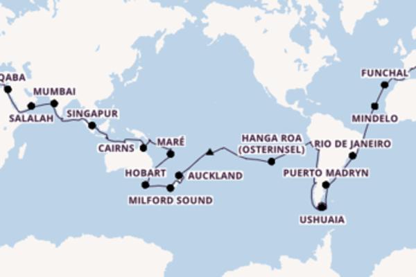 117-tägige Kreuzfahrt bis Barcelona