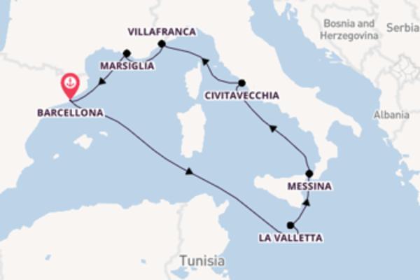 Appassionante crociera da Barcellona verso Villafranca