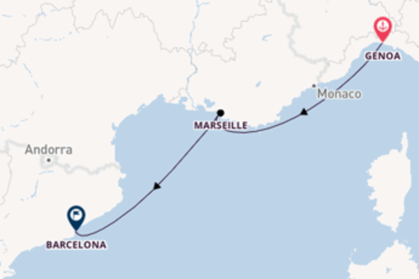 Trip with the MSC Splendida to Barcelona from Genoa