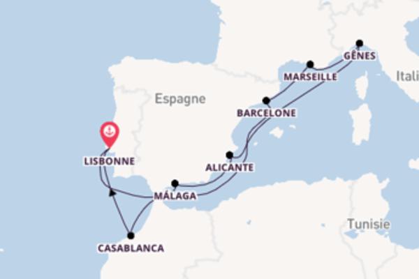 11 jours de navigation à bord du bateau MSC Virtuosa depuis Lisbonne
