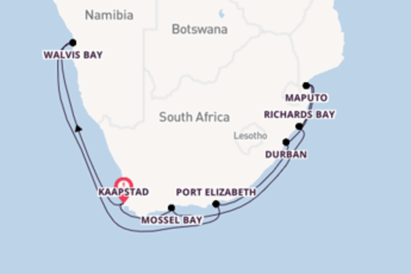 Luxe 15-daagse cruise langs Walvis Bay & Durban