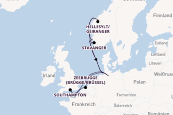 Spannende Kreuzfahrt über Hellesylt/Geiranger nach Rotterdam