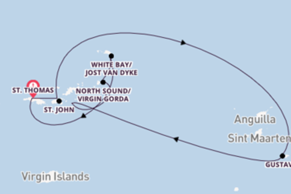 8-daagse cruise met de SeaDream I vanuit St. Thomas