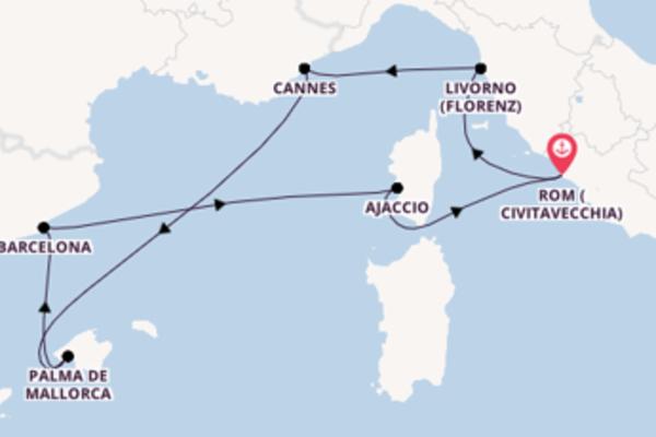 In 7 Tagen nach Rom (Civitavecchia) über Barcelona