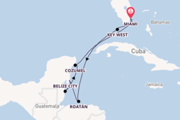 Panoramica crociera da Miami verso Roatán