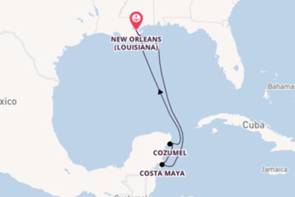 Navigando da New Orleans verso Costa Maya