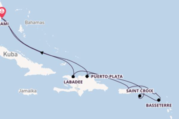 Herrliche Kreuzfahrt über Saint Croix nach Miami