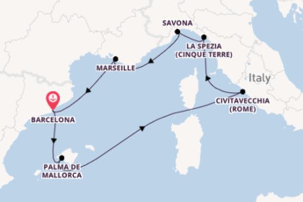 Over de Middellandse Zee naar Spanje, Italië & Frankrijk