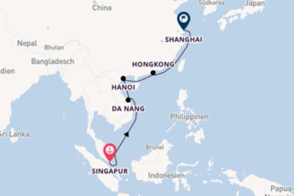 Wunderbare Kreuzfahrt von Singapur nach Shanghai