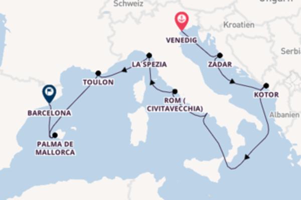 Erkunden Sie Venedig, Kotor und Barcelona