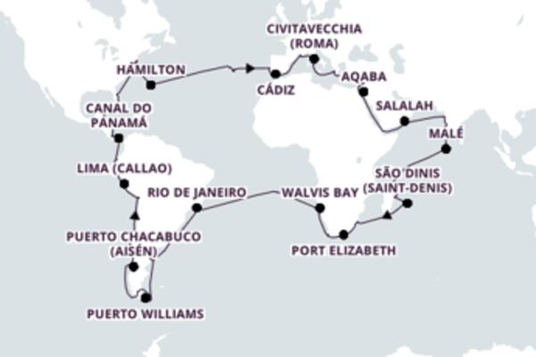 Relaxe a bordo do Costa Deliziosa em 114 dias