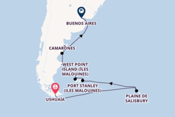 Puerto Deseado, depuis Ushuaïa à bord du bateau Silver Wind