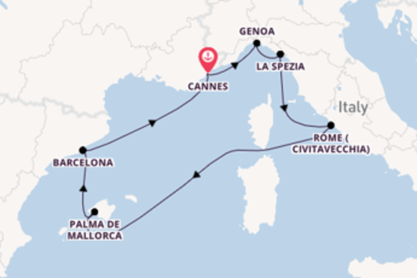 Expedition from Cannes with the MSC Grandiosa
