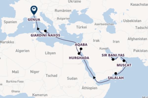 Vom Persischen Golf zum Golf von Aqaba