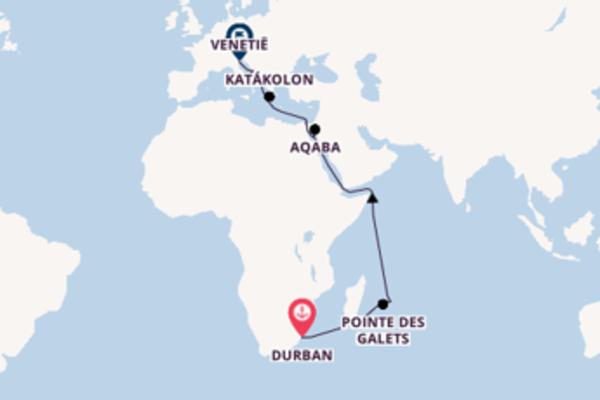 Verken Durban, Aqaba en Venetië