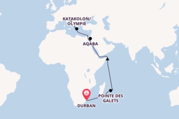 Croisière de 25 jours depuis Durban avec MSC Croisières
