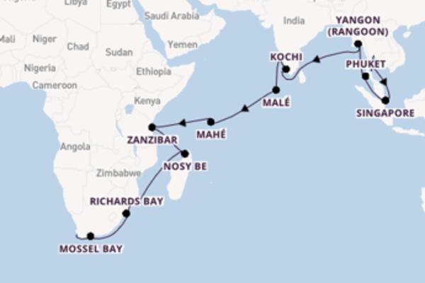 Cruise naar Kaapstad via Zanzibar
