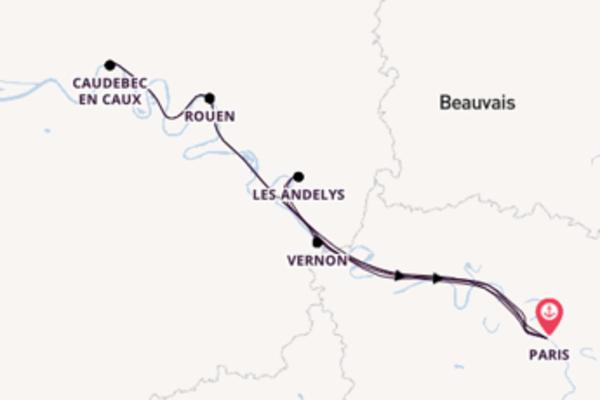 Sailing from Paris via Caudebec en Caux