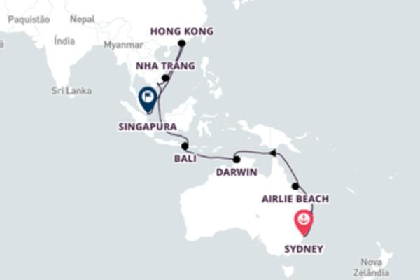 Imperdível cruzeiro de 26 dias até Singapura