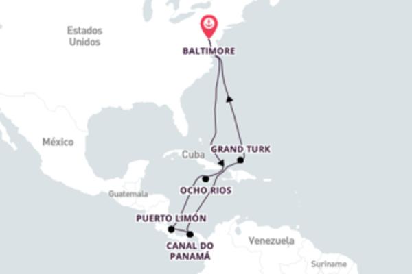 Caribe saindo de Baltimore com o Carnival Pride