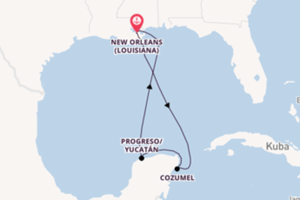 In 6 Tagen nach New Orleans über Progreso/Yucatán