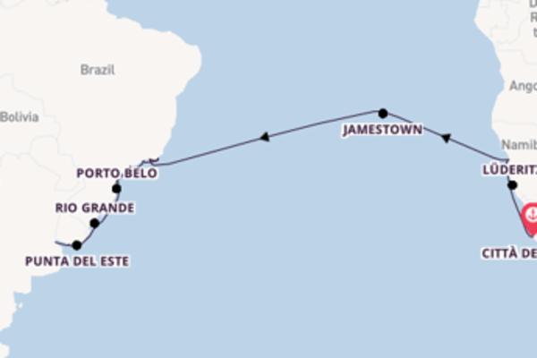 Passa per Montevideo salpando da Città del Capo