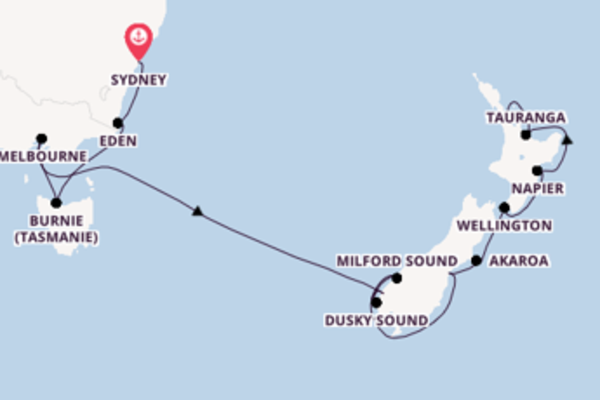 13 jours de navigation à bord du bateau Norwegian Spirit vers Auckland