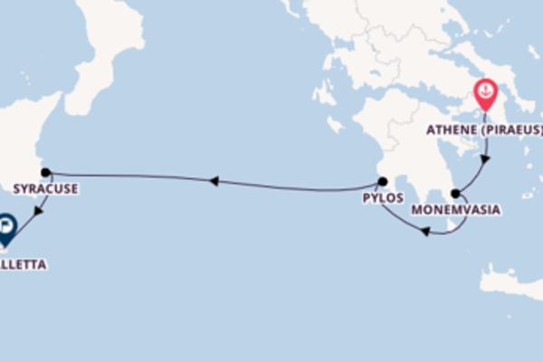 Bezoek Athene (Piraeus), Griekenland, Monemvasia, Griekenland en La Valletta, Malta