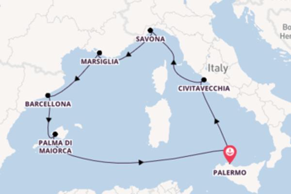 Viaggio da Palermo verso Savona
