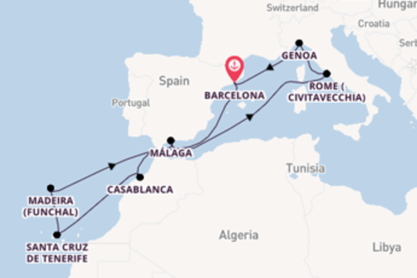 12 day cruise with the MSC Splendida to Barcelona