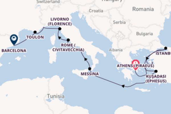 Sailing with Regent Seven Seas Cruises from Athens (Piraeus) to Barcelona