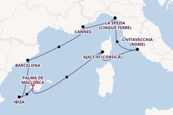 Ajaccio (Corsica) bewonderen met de Neue Mein Schiff 2