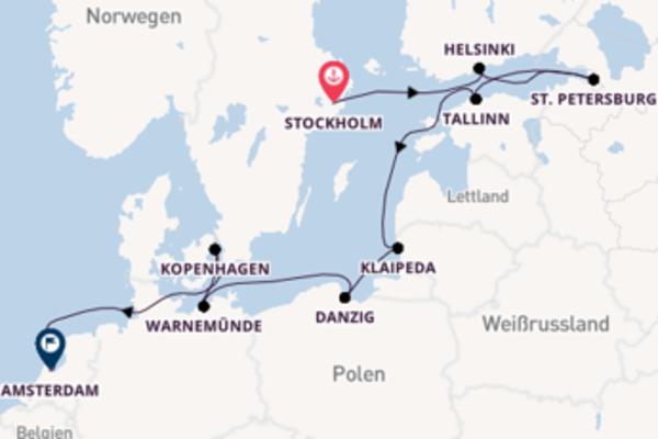 Stockholm, St. Petersburg und Amsterdam erkunden
