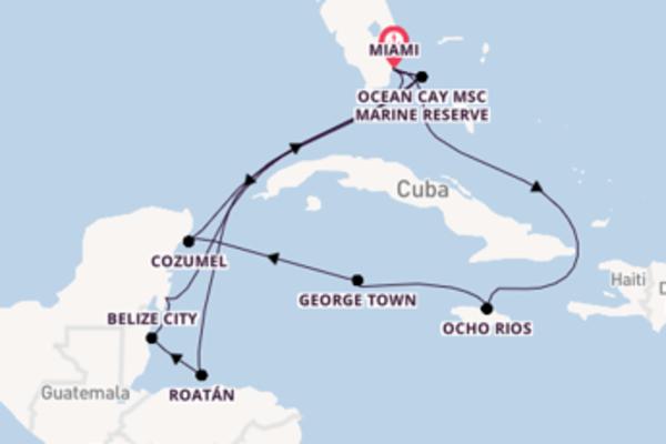 Cruise naar Miami (FL) via Costa Maya