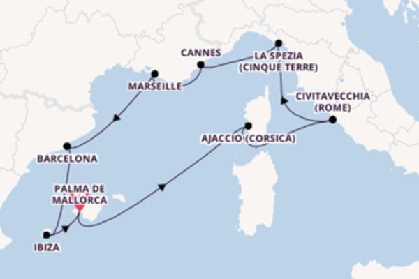 Ga mee op de Mein Schiff 2 naar Palma de Mallorca