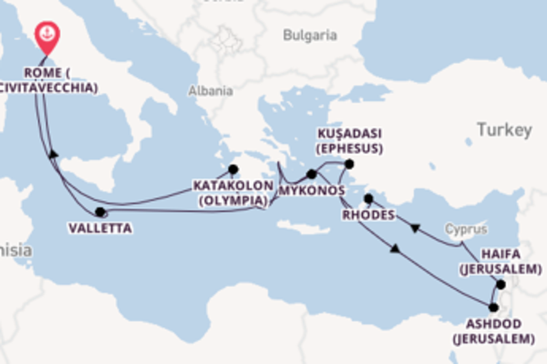 Voyage from Civitavecchia (Rome) with the Island Princess
