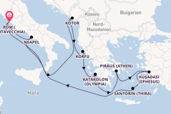 In 11 Tagen nach Rom (Civitavecchia) über Kotor