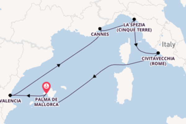Cruise in 8 dagen naar Palma de Mallorca met TUI Cruises