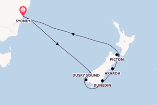 Akaroa depuis Sydney pour une croisière de 11 jours