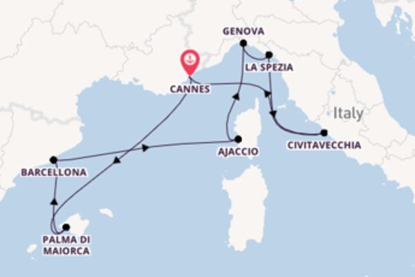 Navigando da Cannes verso Ajaccio