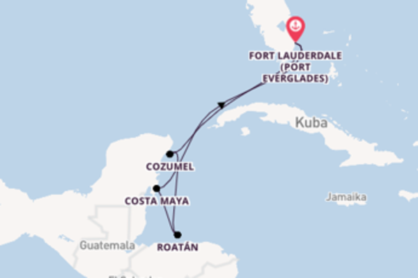 Spannende Kreuzfahrt über Roatán nach Fort Lauderdale (Port Everglades)