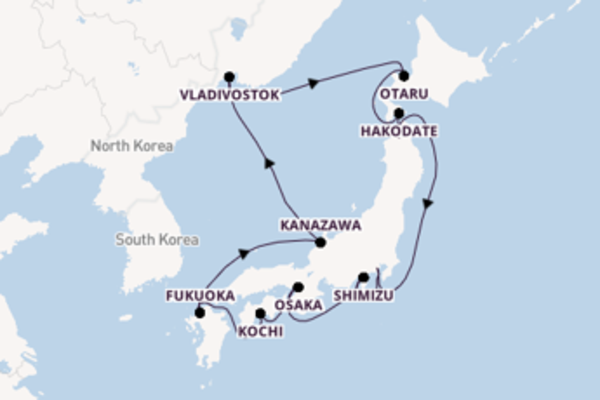 15-daagse cruise naar Fukuoka