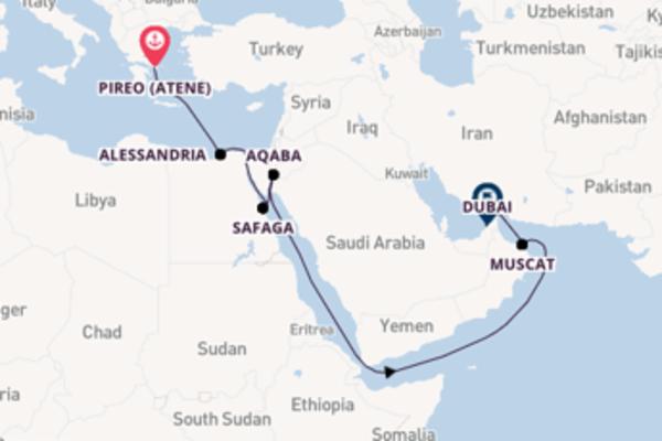 In rotta verso Dubai da Pireo (Atene)