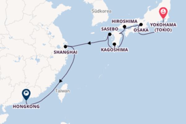 Yokohama (Tokio), Beppu und Hongkong genießen