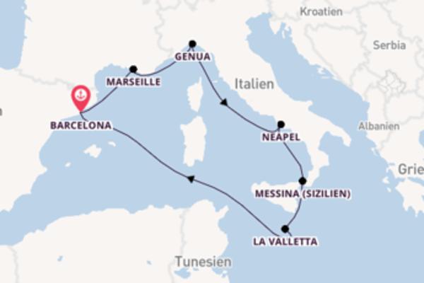 Spannende Kreuzfahrt über Messina (Sizilien) ab Barcelona