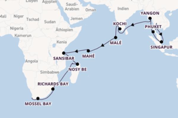 Kreuzfahrt mit Insignia von Bangkok nach Kapstadt